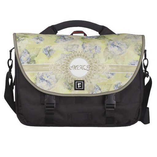 Vintage Blue Hydrangea French Wallpaper Floral Art Laptop Bags