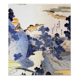 Vintage blue Japanese Art Woodblock Ukiyo-E Poster
