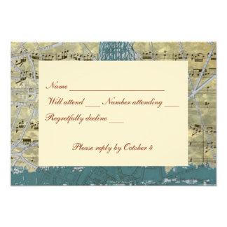 Vintage Blue Paris Music rsvp with envelope Custom Announcement