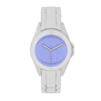 Vintage Blue Polka dot fabric texture Watch