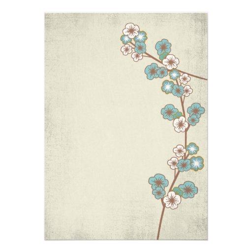 Vintage blue sakura flowers Invitation