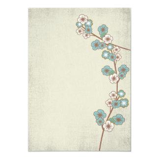 """Vintage blue sakura flowers Invitation 5"""" X 7"""" Invitation Card"""