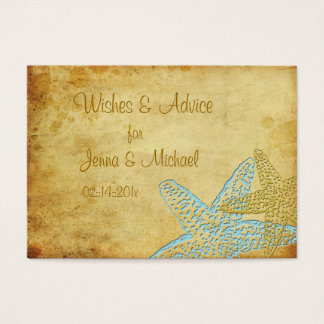 VINTAGE BLUE STARFISH WISHES & ADVICE BUSINESS CARD