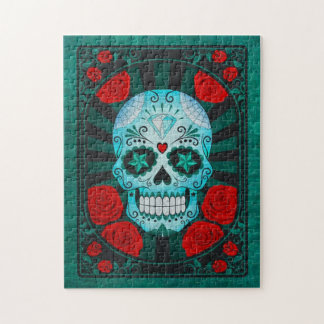 Vintage Blue Sugar Skull with Roses Poster Jigsaw Puzzle