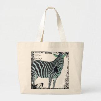 Vintage Blue Twinkle Zebra Art Bag