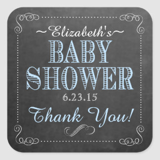 Vintage Blue Typography Baby Shower Square Sticker