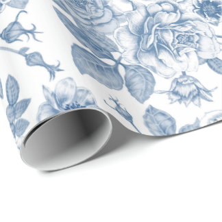 Vintage blue white floral pattern party wrap wrapping paper