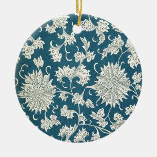 Vintage Blue  & White Floral Print Christmas Ornament