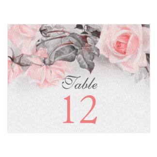Vintage Blush Pink Rose Wedding Table Cards