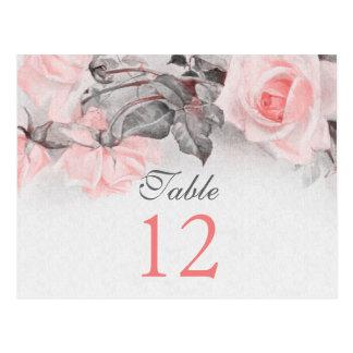 Vintage Blush Pink Rose Wedding Table Cards Postcard