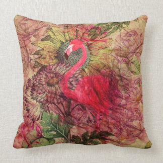 Vintage bohemian floral tropical pink flamingo cushion