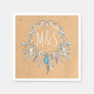 vintage boho dreamcathcer wedding paper napkins