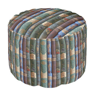 Vintage Book Library Collection Pouf Round Pouf
