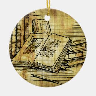 Vintage Books Round Ceramic Decoration