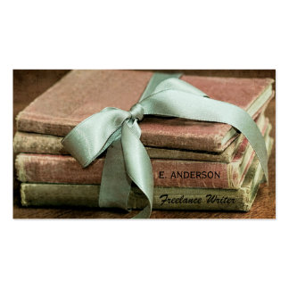 Vintage Books With Mint Ribbon Freelance Writer Business Card Template