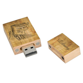 Vintage Books Wood USB Flash Drive