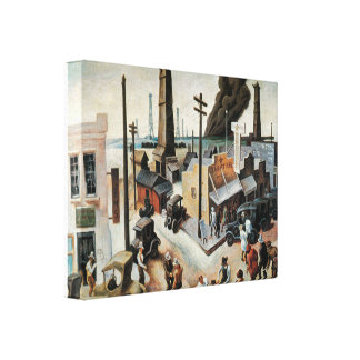 Vintage Boomtown 1918 3D art Wrapped Canvas