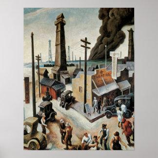 Vintage Boomtown 1918 Art Print Poster