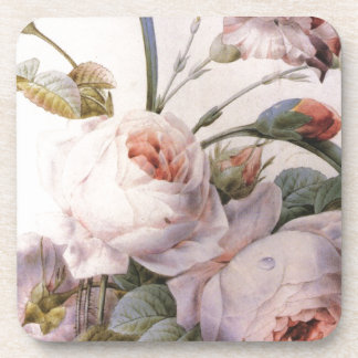 vintage botanical illustration, pink rose drink coaster