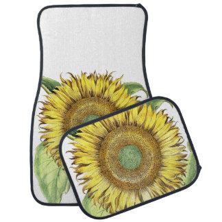 Vintage Botanical Sunflower Floral Flower Car Mat