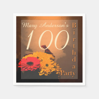 Vintage Bouquet - 100th Birthday paper napkins