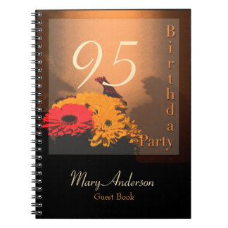 Vintage Bouquet - 95th Birthday Party Guest Book Spiral Note Books