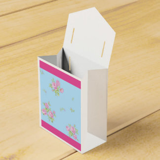Vintage box for favors pink and blue with flowers party favour boxes