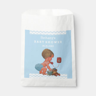 Vintage Boy on Phone Baby Shower Chevrons Favour Bags