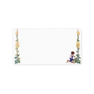 Vintage Boy with Flowers Avery Label