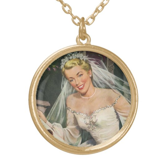 Vintage Bride with Flower Girl on Her Wedding Day Gold Plated Necklace