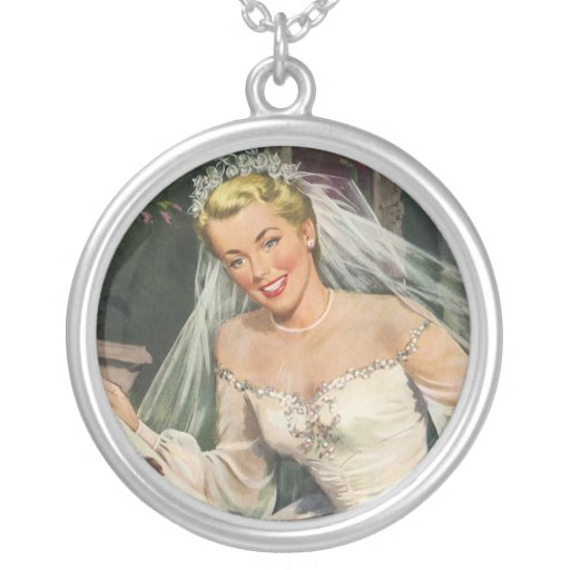 Vintage Bride with Flower Girl on Her Wedding Day Round Pendant Necklace