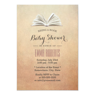 Vintage Bring a Book Baby Shower Invitations