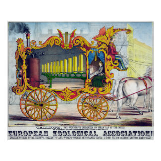 Vintage British Zoo Steam Car of the Muses Poster
