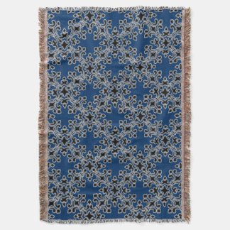 Vintage Brocade Damask Cool Black Afghan Throw Blanket