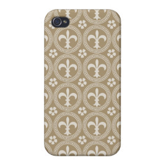 Vintage Brown And White Fleur Delis iPhone 4 Covers