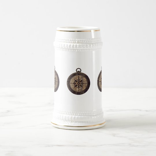 Vintage Brown Compass Beer Stein