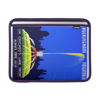 Vintage Buckingham Fountain Chicago WPA Poster Sleeve For MacBook Air