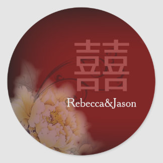 vintage burgundy peony floral chinese Wedding Classic Round Sticker