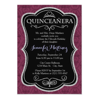 Vintage Burgundy Purple Damask Pattern Announcements