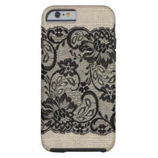 Vintage Burlap & Black Lace iPhone 6 case