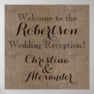 Vintage Burlap Wedding Reception Welcome Sign