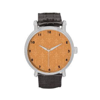 Vintage Burnt Orange Damask Pattern Wristwatches