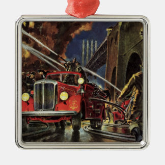 Vintage Business, Fire Trucks Firemen Firefighters Silver-Colored Square Decoration