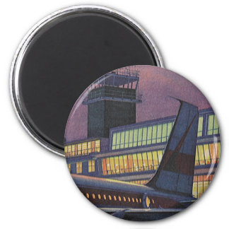 Vintage Business Passengers on Airplane at Airport Magnet