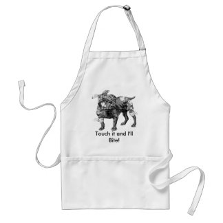Vintage Butch in BW, Touch it and I'll Bite! Standard Apron