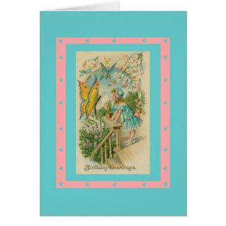 Vintage Butterflies Hearts Aqua Pink Birthday Note Card