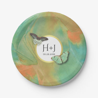 Vintage Butterflies Southwest Colors Wedding 7 Inch Paper Plate