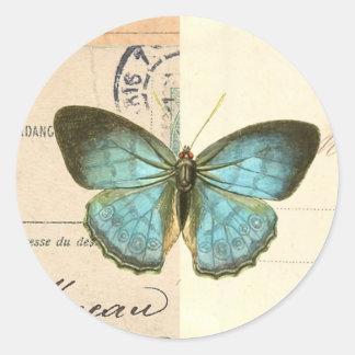 Vintage butterfly in blue beautiful trendy sticker