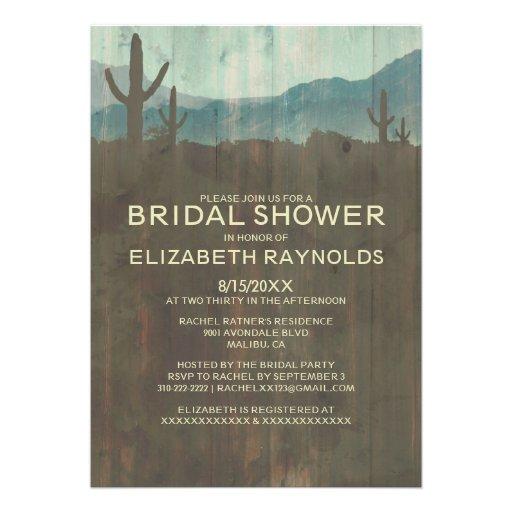 Vintage Cactus Bridal Shower Invitations Custom Invitations
