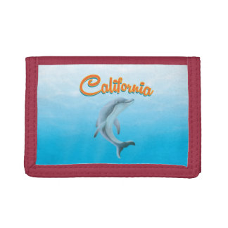 Vintage California Dolphin travel poster Trifold Wallet